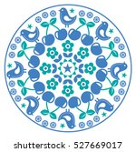 finnish inspired round folk art ... | Shutterstock .eps vector #527669017
