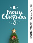 merry christmas card on color... | Shutterstock . vector #527677843