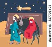 mary and joseph flee to egypt... | Shutterstock .eps vector #527705623