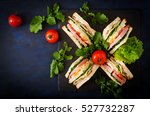 club sandwich with ham  bacon ...   Shutterstock . vector #527732287