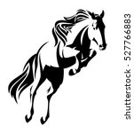 Stock vector jumping horse black and white vector outline monochrome equine design 527766883