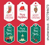 christmas and new year greeting ... | Shutterstock .eps vector #527784673