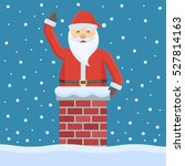 santa claus in the chimney.... | Shutterstock .eps vector #527814163