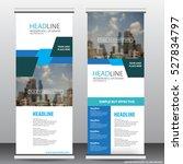 blue roll up business brochure... | Shutterstock .eps vector #527834797