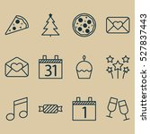 set of 12 happy new year icons. ...