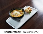 the cheese soup. top view of a... | Shutterstock . vector #527841397