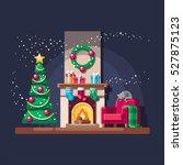christmas fireplace. vector... | Shutterstock .eps vector #527875123