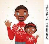 happy christmas african... | Shutterstock .eps vector #527896963