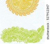 sun and green branch. vector... | Shutterstock .eps vector #527912347