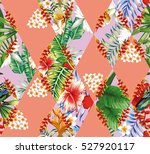 patchwork of cut tropical... | Shutterstock .eps vector #527920117