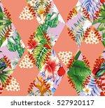 patchwork of cut tropical... | Shutterstock .eps vector #527920117
