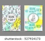 brochure with cosmetic bottles. ... | Shutterstock .eps vector #527924173