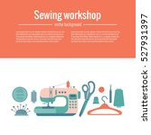 vector colorful sewing workshop ... | Shutterstock .eps vector #527931397