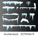 set of snow icicles  snow cap... | Shutterstock .eps vector #527943673