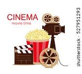 grunge retro cinema poster.... | Shutterstock .eps vector #527951293