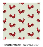 Seamless Pattern With Roosters.