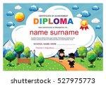 kids diploma certificate... | Shutterstock .eps vector #527975773