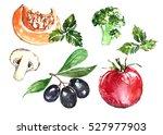 watercolor vegetarian food set.   Shutterstock . vector #527977903