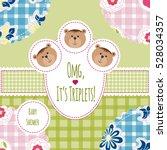 three happy triplets. baby... | Shutterstock .eps vector #528034357