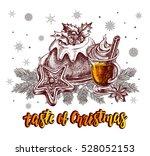taste of christmas. pudding... | Shutterstock .eps vector #528052153