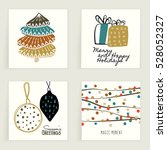 four cards. hand drawn creative ... | Shutterstock .eps vector #528052327