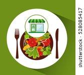 store fresh vegetables healthy... | Shutterstock .eps vector #528085417