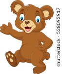 cartoon baby bear waving hand | Shutterstock .eps vector #528092917