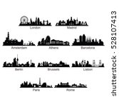 Silhouette of City Skyline Landscape of European Country | Shutterstock vector #528107413