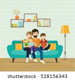 smiling young parents and their ... | Shutterstock .eps vector #528156343