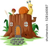 fantasy house with snail    Shutterstock .eps vector #528160087