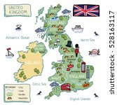 cartoon map of united kingdom.... | Shutterstock .eps vector #528163117