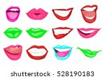 woman kissing and smiling... | Shutterstock .eps vector #528190183