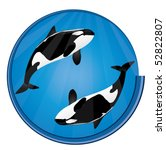 Orca Whales Blue Circle Icon