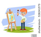 artist boy painting cat on... | Shutterstock .eps vector #528241573