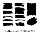 set of black paint  ink brush... | Shutterstock .eps vector #528252943