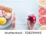 female hands make a choice... | Shutterstock . vector #528254443