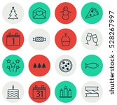 set of 16 holiday icons. can be ... | Shutterstock .eps vector #528267997