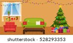 christmas room interior with... | Shutterstock .eps vector #528293353