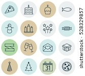 set of 16 happy new year icons. ... | Shutterstock .eps vector #528329857