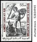 "Small photo of MAURITANIE - CIRCA 1978: A stamp printed in Islamic Republic Mauritanie shows engraver by Albrecht Durer ""Gonfalonier"", circa 1978"