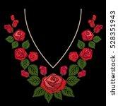 red roses emboidery for neck... | Shutterstock .eps vector #528351943