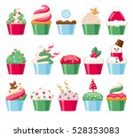 colorful christmas cupcakes... | Shutterstock .eps vector #528353083