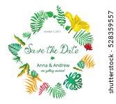 tropical floral wedding... | Shutterstock .eps vector #528359557