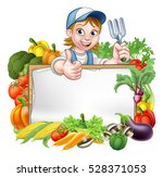 a cartoon woman gardener... | Shutterstock .eps vector #528371053
