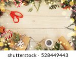 christmas background on the... | Shutterstock . vector #528449443
