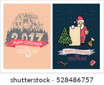 cute christmas cards  family... | Shutterstock . vector #528486757