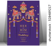 indian wedding card  elephant...   Shutterstock .eps vector #528489217