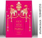 indian wedding card  elephant...   Shutterstock .eps vector #528489253