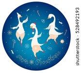 christmas vector gooses dancing ...   Shutterstock .eps vector #528492193