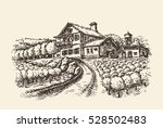 farm landscape. hand drawn... | Shutterstock .eps vector #528502483